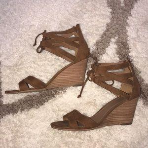 Nordstrom Rack Brown Lace-up Sandal Wedge